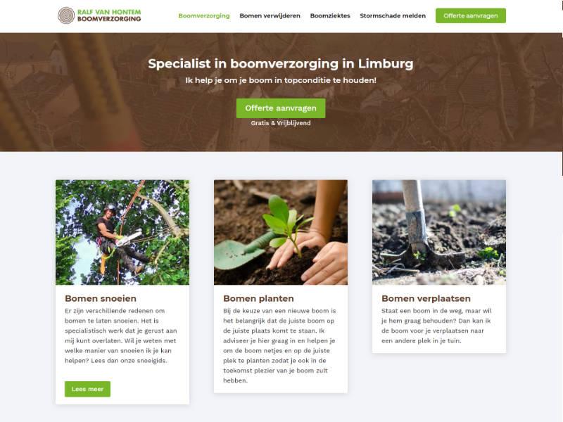 Scoob wesite laten maken - voorbeeld - RVH Boomverzorging Limburg